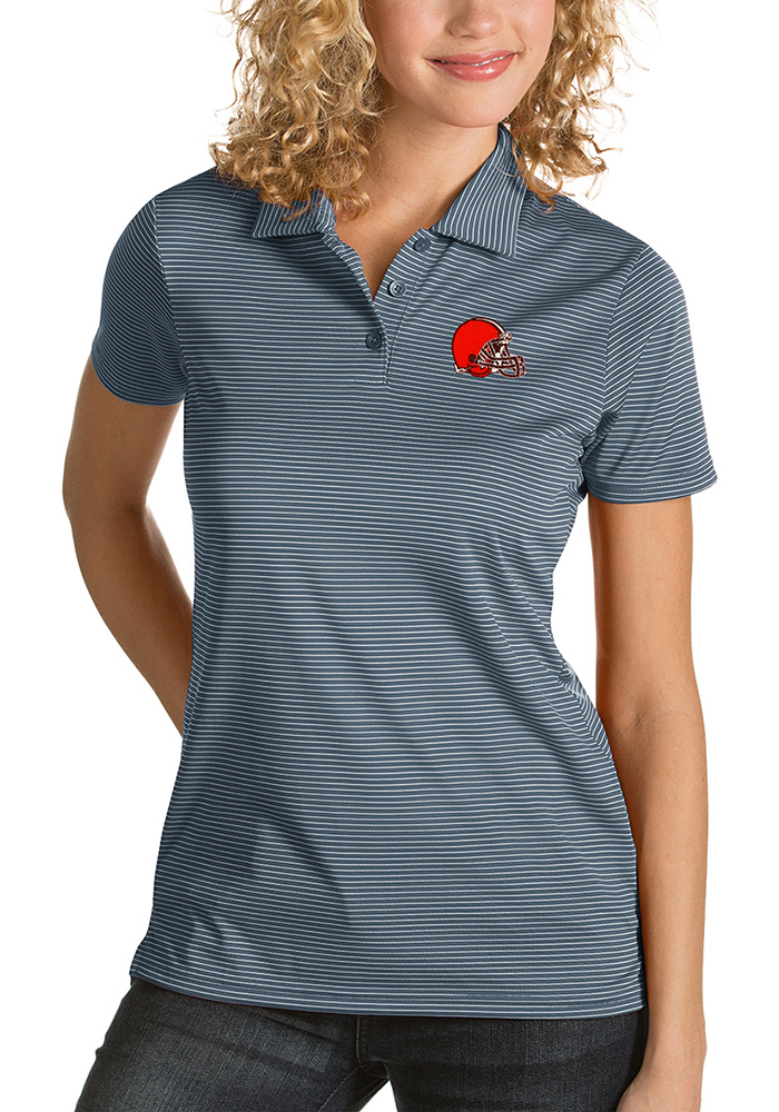 Cleveland Browns Womens Grey Quest Short Sleeve Polo Shirt - Image 1