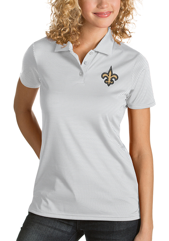 Antigua New Orleans Saints Womens White Quest Short Sleeve Polo Shirt - Image 1