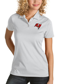 Tampa Bay Buccaneers Womens Antigua Quest Polo Shirt - White