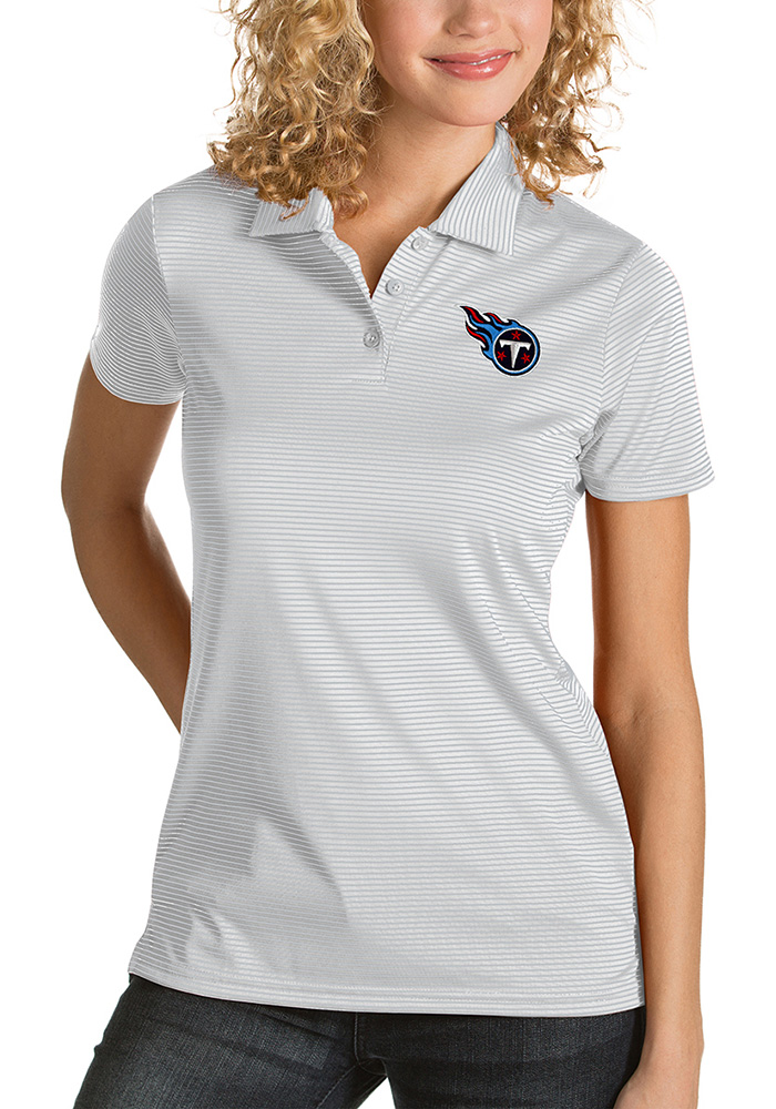 Antigua Tennessee Titans Womens White Quest Short Sleeve Polo Shirt - Image 1