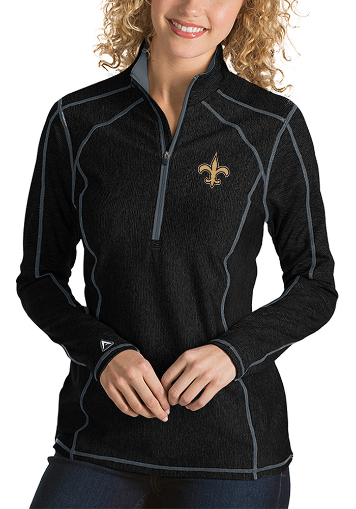 Antigua New Orleans Womens Black Tempo 1/4 Zip Pullover - Image 1