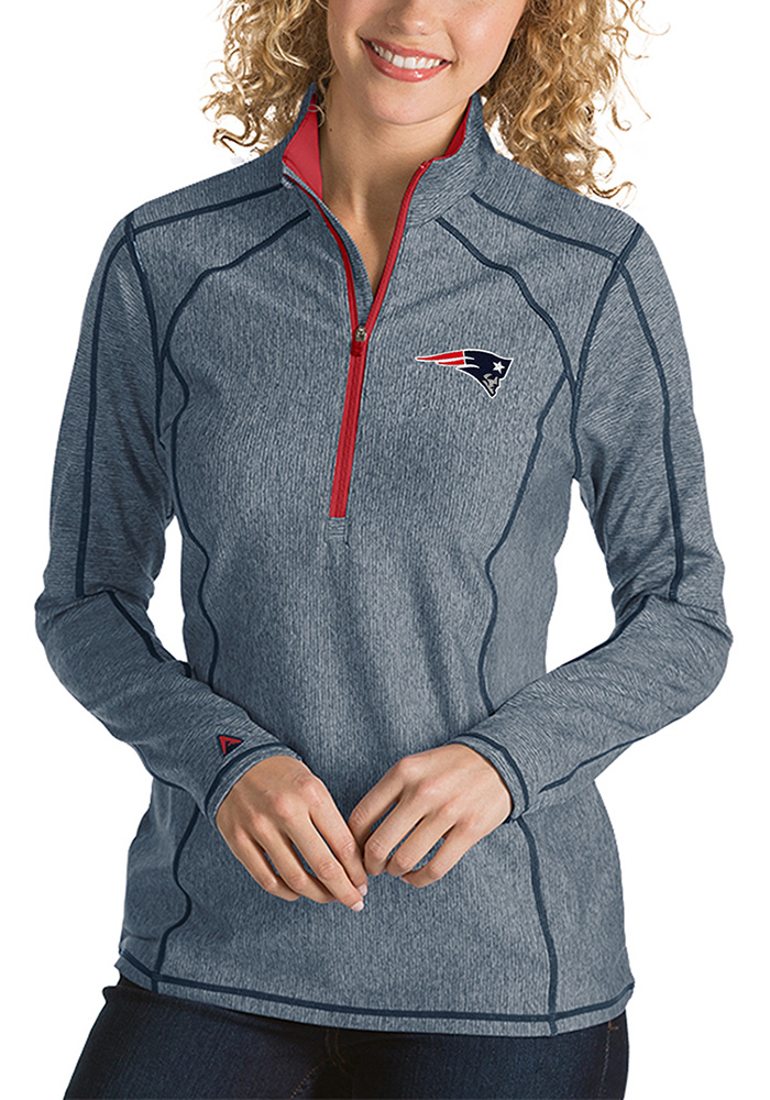 Antigua New England Womens Navy Blue Tempo 1/4 Zip Pullover - Image 1