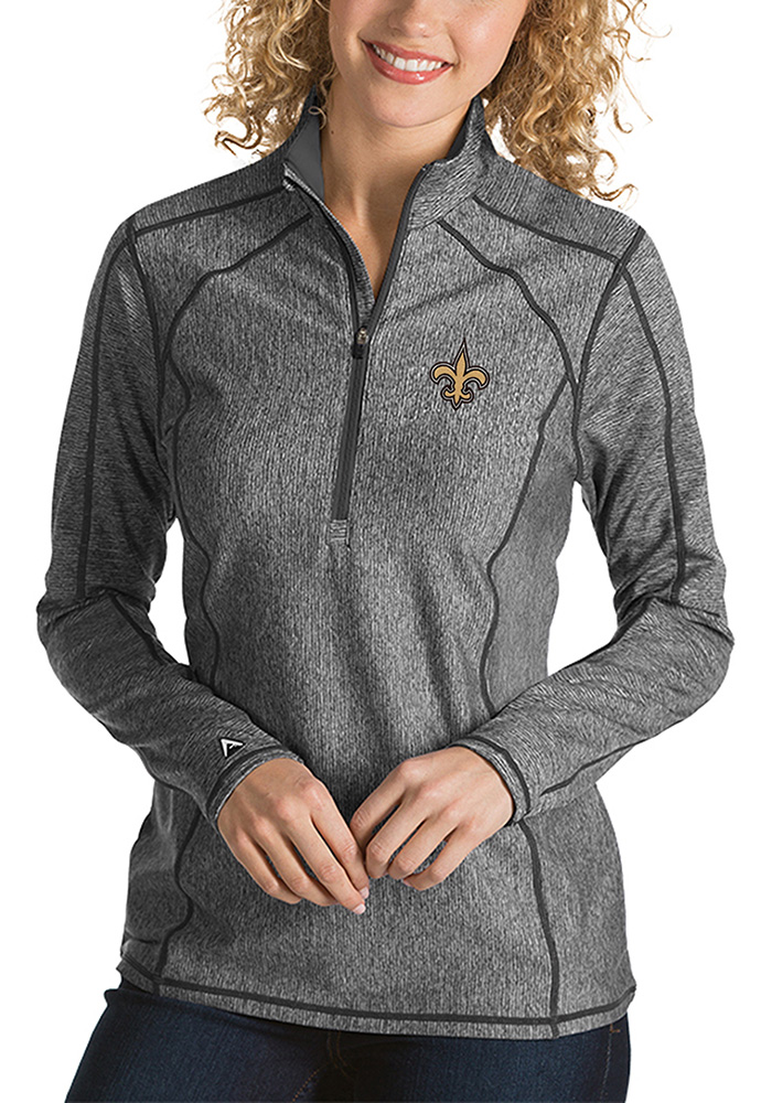 Antigua New Orleans Womens Grey Tempo 1/4 Zip Pullover - Image 1