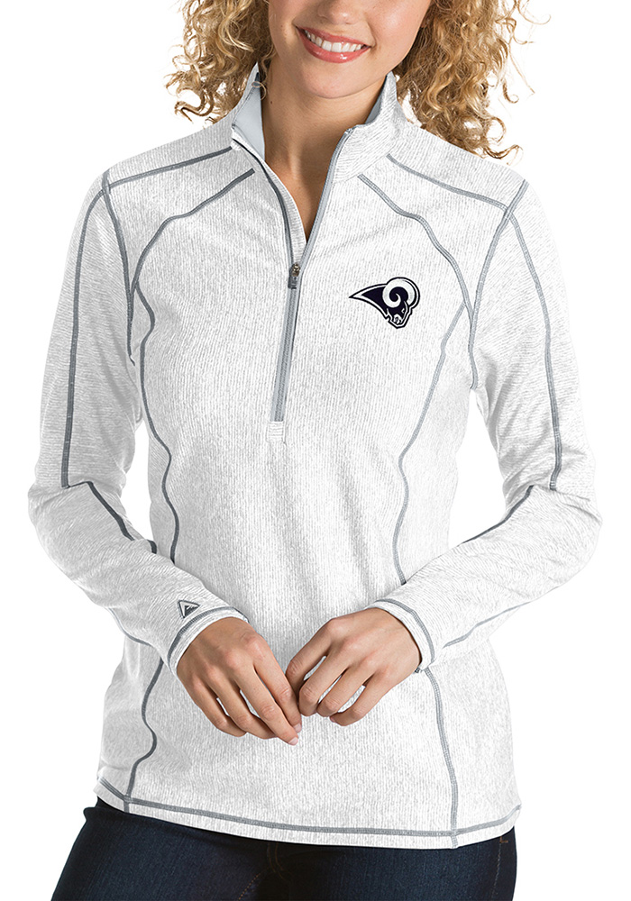 Antigua LA Rams Womens White Tempo 1/4 Zip Pullover - Image 1
