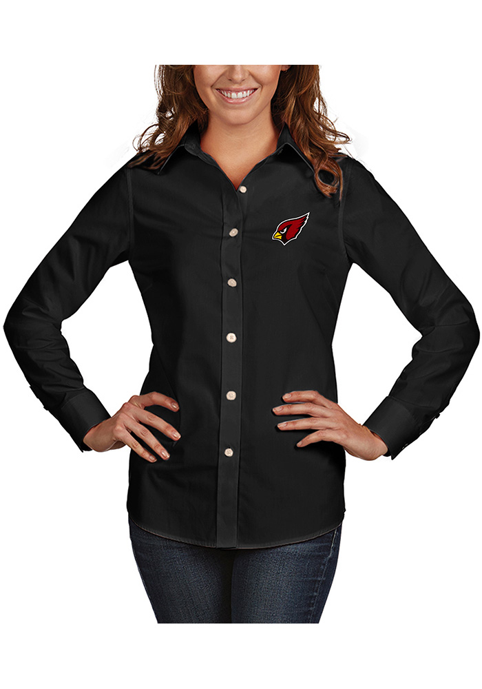 Arizona Cardinals Womens Dynasty Long Sleeve Black Dress Shirt - Image 1