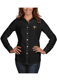Antigua New Orleans Saints Womens Black Dynasty Dress Shirt
