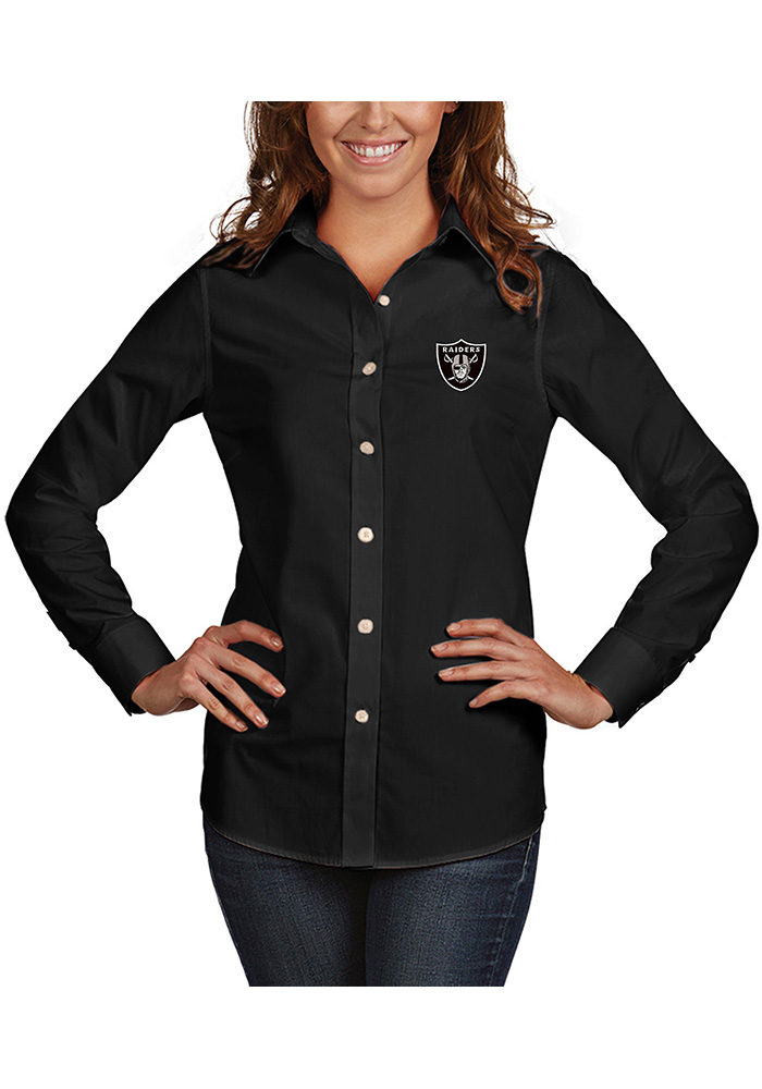 Antigua Oakland Raiders Womens Dynasty Long Sleeve Black Dress Shirt - Image 1
