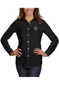 Las Vegas Raiders Womens Antigua Dynasty Dress Shirt - Black