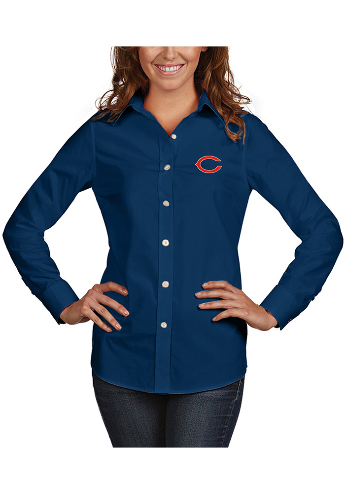 Chicago Bears Womens Dynasty Long Sleeve Navy Blue Dress Shirt - Image 1