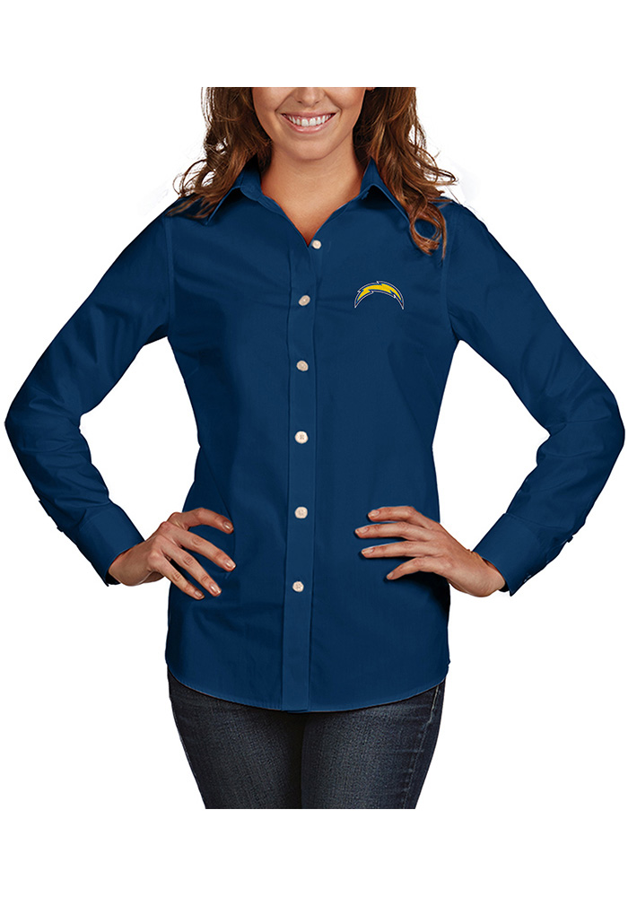 Antigua Los Angeles Chargers Womens Dynasty Long Sleeve Navy Blue Dress Shirt - Image 1
