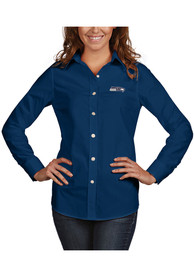 Seattle Seahawks Womens Antigua Dynasty Dress Shirt - Navy Blue