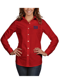 Antigua New York Giants Womens Red Dynasty Dress Shirt