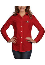 San Francisco 49ers Womens Antigua Dynasty Dress Shirt - Red