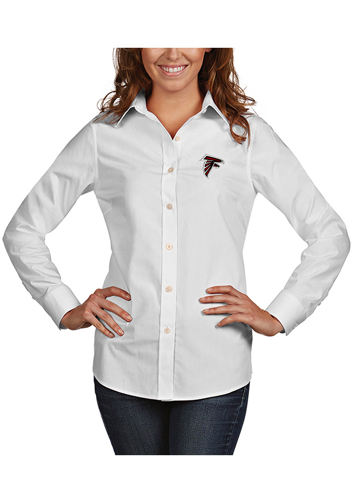 Antigua Atlanta Falcons Womens Dynasty Long Sleeve White Dress Shirt - Image 1