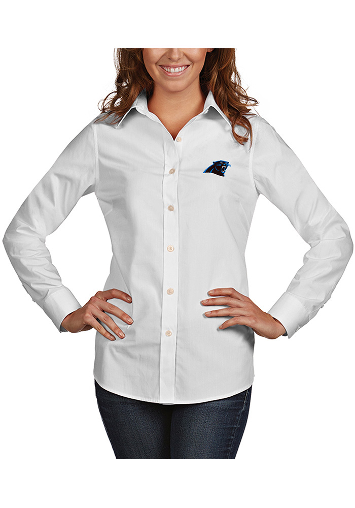 Carolina Panthers Womens Dynasty Long Sleeve White Dress Shirt - Image 1