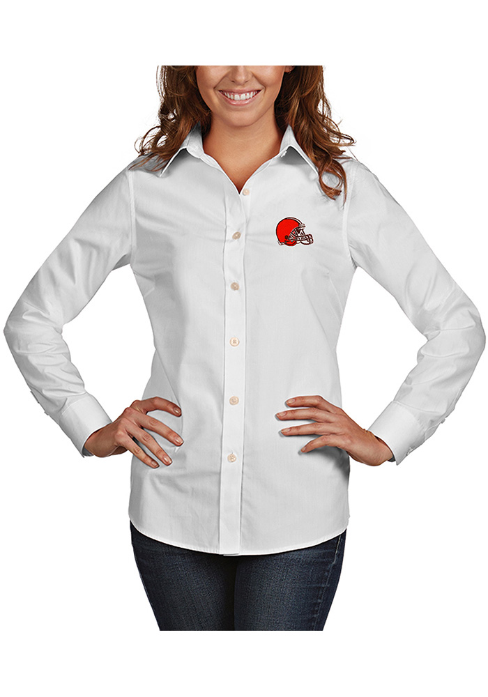Cleveland Browns Womens Dynasty Long Sleeve White Dress Shirt - Image 1