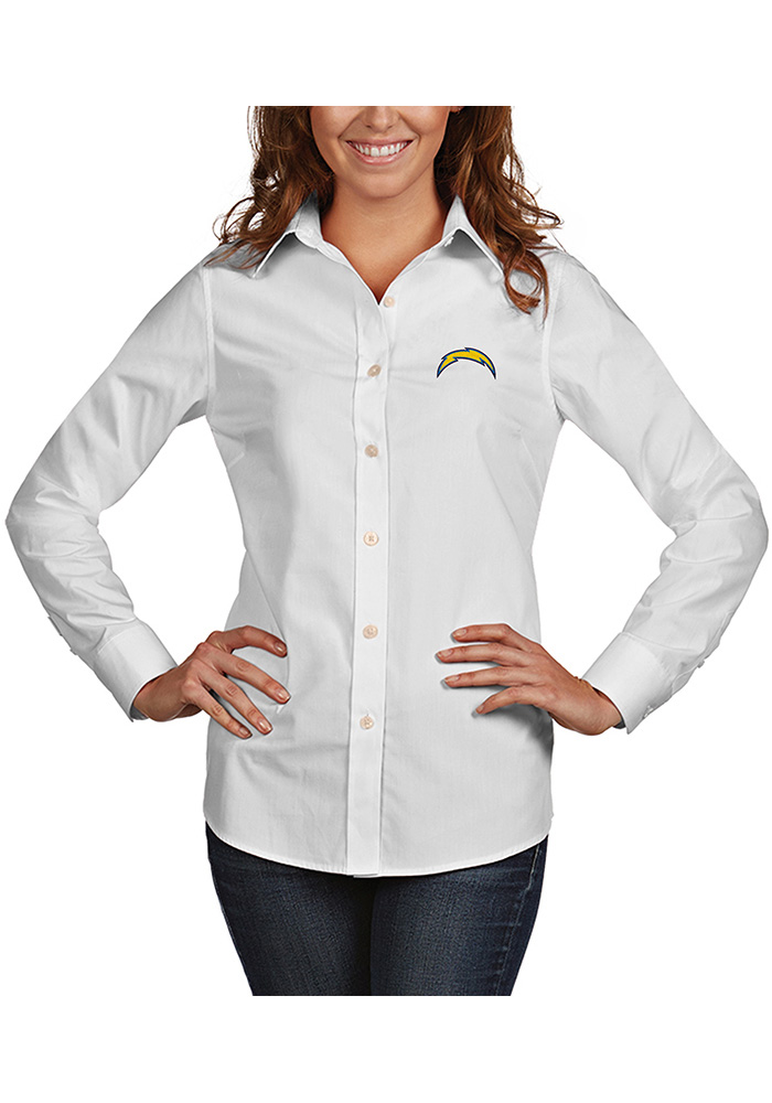 Antigua Los Angeles Chargers Womens Dynasty Long Sleeve White Dress Shirt - Image 1