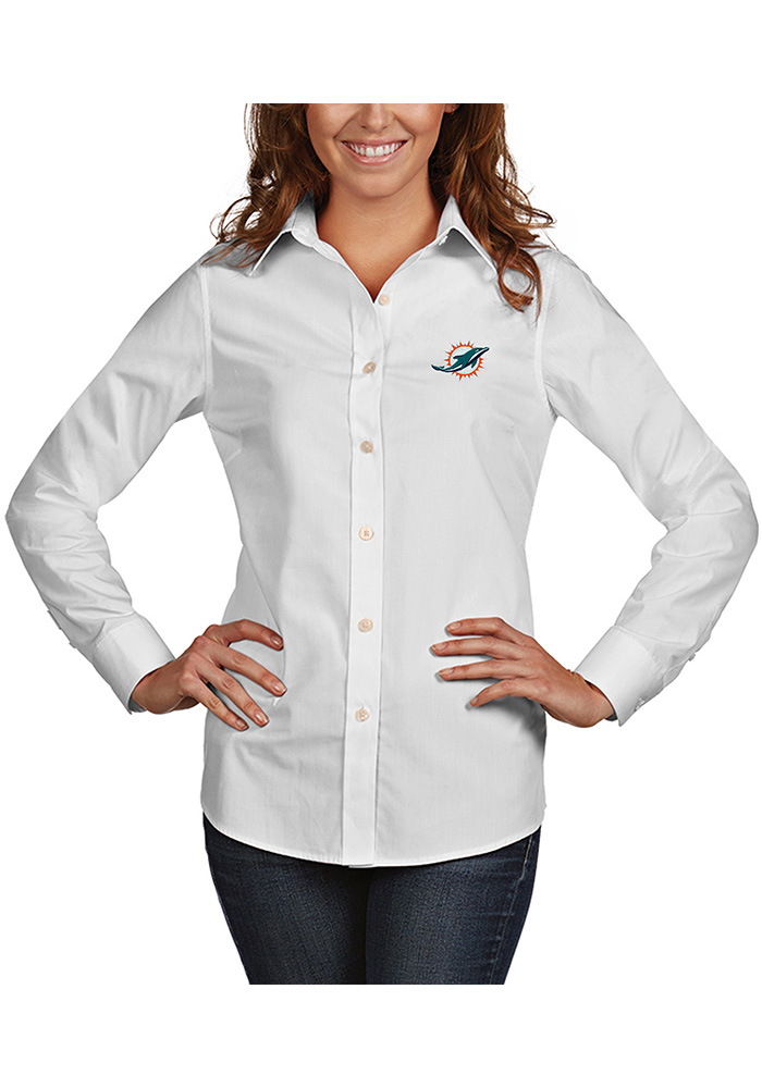 Miami Dolphins Womens Dynasty Long Sleeve White Dress Shirt - Image 1