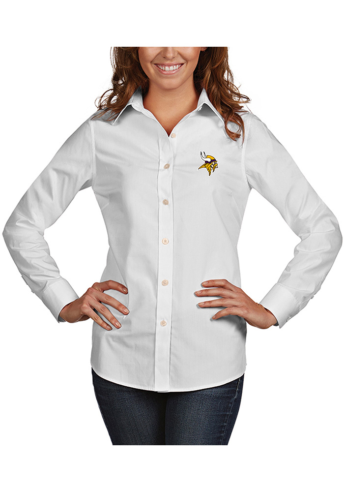 Antigua Minnesota Vikings Womens Dynasty Long Sleeve White Dress Shirt - Image 1