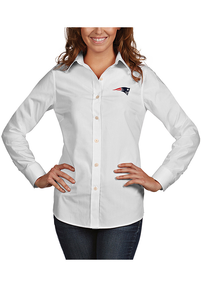 Antigua New England Patriots Womens Dynasty Long Sleeve White Dress Shirt - Image 1