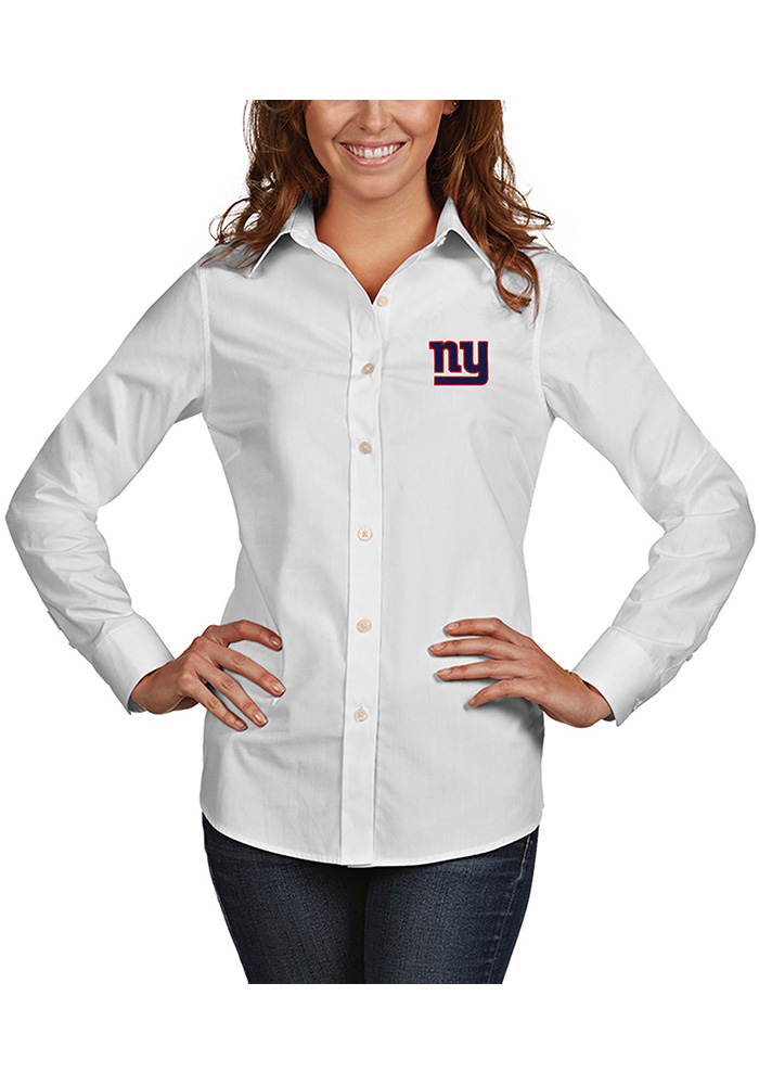 Antigua New York Giants Womens Dynasty Long Sleeve White Dress Shirt - Image 1