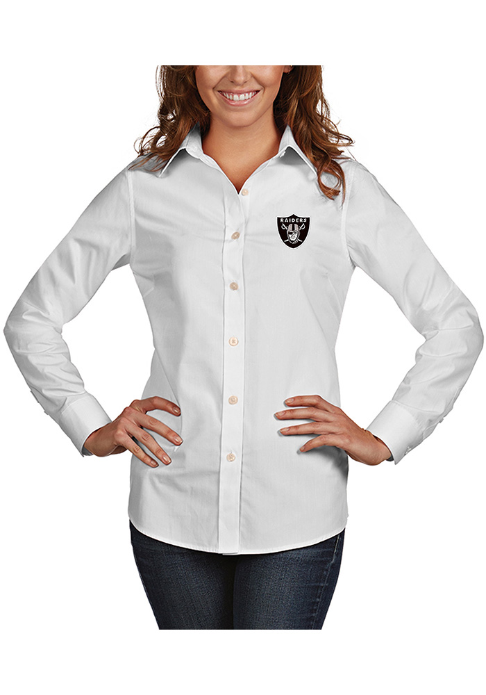 Oakland Raiders Womens Dynasty Long Sleeve White Dress Shirt - Image 1