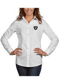 Las Vegas Raiders Womens Antigua Dynasty Dress Shirt - White