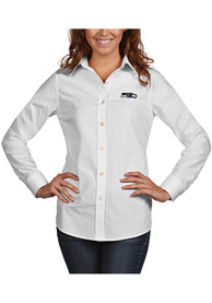 Seattle Seahawks Womens Antigua Dynasty Dress Shirt - White
