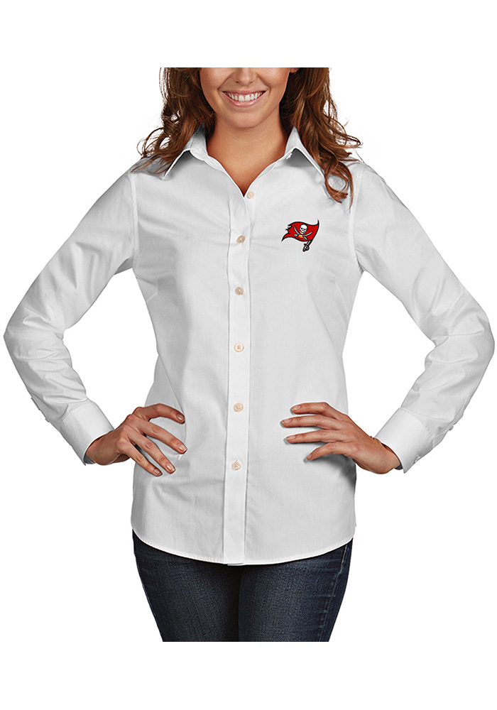 Antigua Tampa Bay Buccaneers Womens White Dynasty Dress Shirt a35c3e7f8
