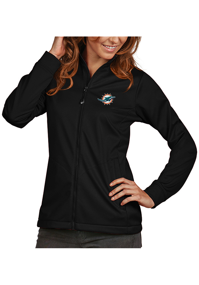 Antigua Miami Dolphins Womens Black Golf Heavy Weight Jacket - Image 1