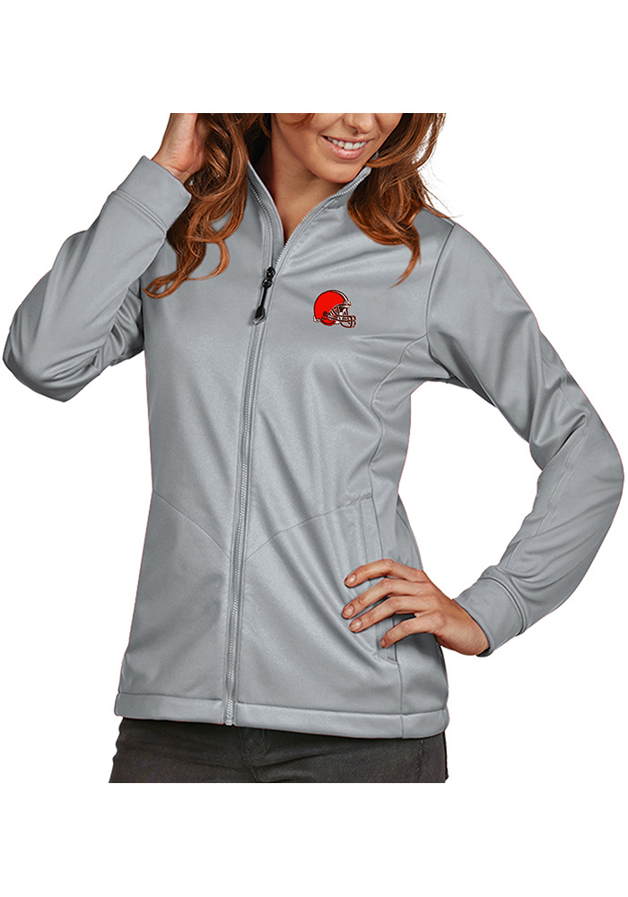 Antigua Cleveland Browns Womens Silver Golf Heavy Weight Jacket - Image 1
