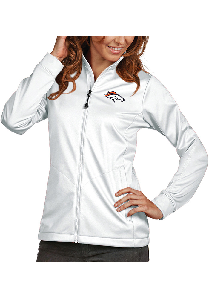 Antigua Denver Broncos Womens White Golf Heavy Weight Jacket - Image 1