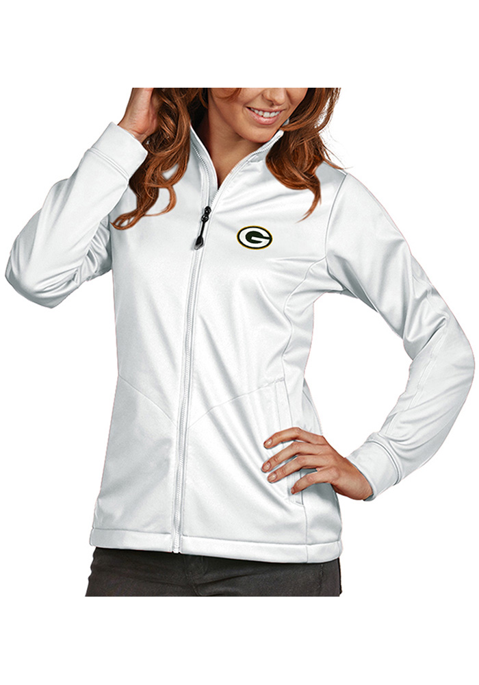 Antigua Green Bay Packers Womens White Golf Heavy Weight Jacket - Image 1