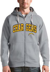 Los Angeles Chargers Antigua Victory Full Zip Jacket - Grey