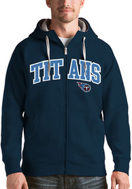 Tennessee Titans Antigua Victory Full Zip Jacket - Navy Blue