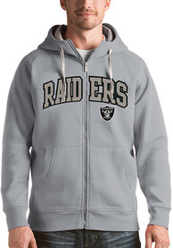 Las Vegas Raiders Antigua Victory Full Zip Jacket - Grey