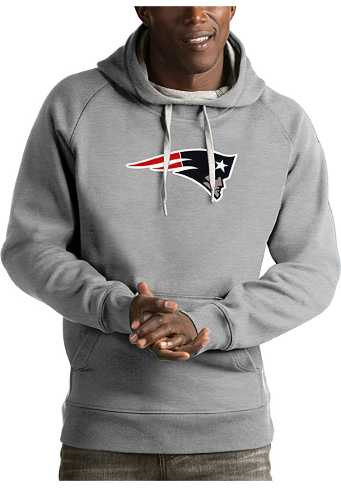 Antigua New England Patriots Mens Grey Victory Long Sleeve Hoodie - Image 1