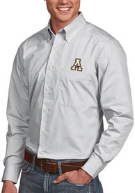 Appalachian State Mountaineers Antigua Dynasty Dress Shirt - Silver