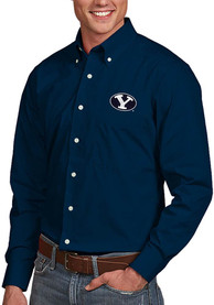 BYU Cougars Antigua Dynasty Dress Shirt - Navy Blue