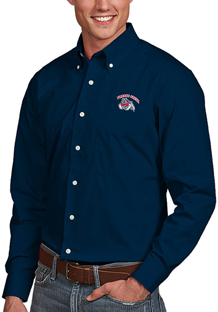 Antigua Fresno State Bulldogs Mens Navy Blue Dynasty Long Sleeve Dress Shirt - Image 1
