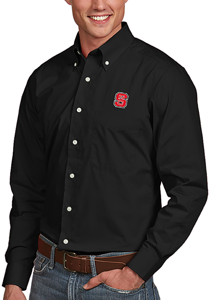Antigua NC State Wolfpack Mens Black Dynasty Long Sleeve Dress Shirt - Image 1