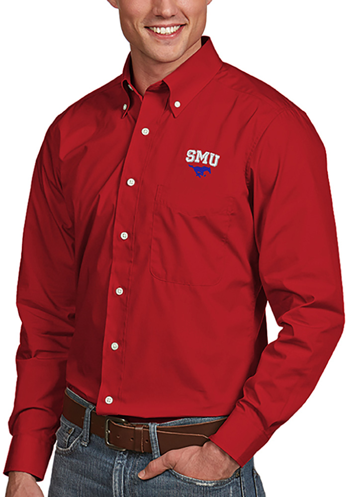 Antigua SMU Mustangs Mens Red Dynasty Long Sleeve Dress Shirt - Image 1