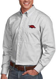 Arkansas Razorbacks Antigua Dynasty Dress Shirt - Silver