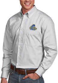 Delaware Fightin' Blue Hens Antigua Dynasty Dress Shirt - Silver
