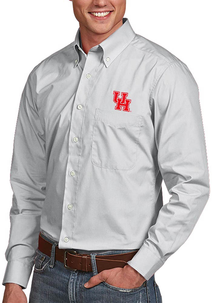 Antigua Houston Cougars Mens Silver Dynasty Long Sleeve Dress Shirt - Image 1