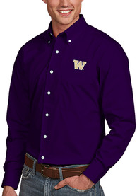 Washington Huskies Antigua Dynasty Dress Shirt - Purple