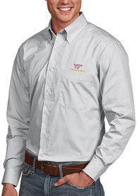 Virginia Tech Hokies Antigua Dynasty Dress Shirt - Silver