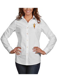 Arizona State Sun Devils Womens Antigua Dynasty Dress Shirt - White