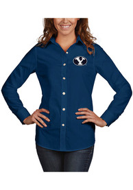BYU Cougars Womens Antigua Dynasty Dress Shirt - Navy Blue