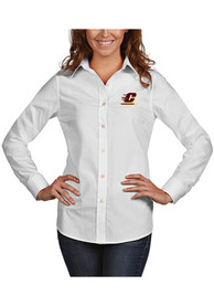Central Michigan Chippewas Womens Antigua Dynasty Dress Shirt - White